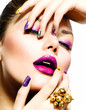Fashion Beauty. Manicure and Make-up. Nail Art