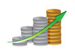 silver and gold coins business graph