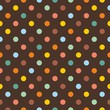 Seamless vector pattern colorful polka dots dark background