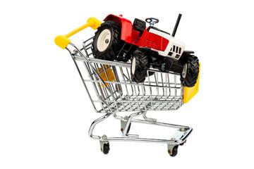 Traktor in Einkaufswagen