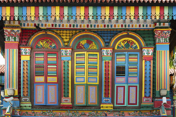 Facade of the building in Little India, Singapore