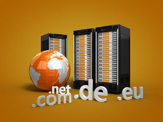 3 Webserver mit Globus und Top-Level-Domains orange
