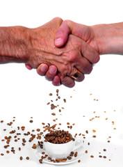 stretta di mano e caffe'
