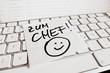 Notiz auf Computer Tastatur: Zum Chef
