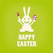 niedlicher Osterhase mit Pinsel und Ei - Happy Easter