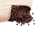 With roasted coffee beans pouring on white background.
