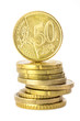"Münzstapel mit ""50-Cent Münze on the top"""