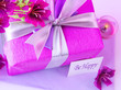 Pink gift box with flowers