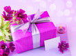 Gift box with pink flowers