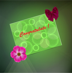 Greeting card on a green background