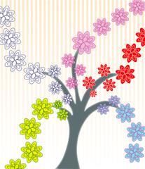 albero fiorito colorato
