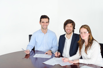 Successful young people in reunion with white background.
