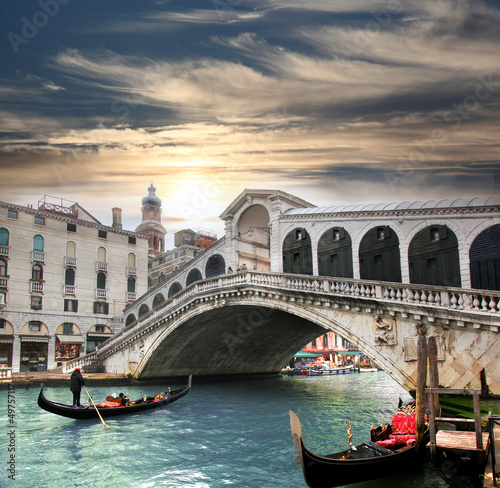 Venice with Rialto bridge in Italy - 49757117