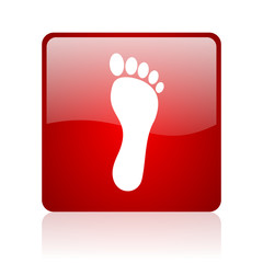 footprint red square glossy web icon on white background