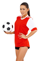 Female soccer player on white