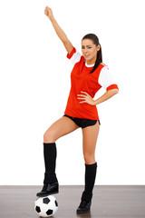 Cute female soccer player