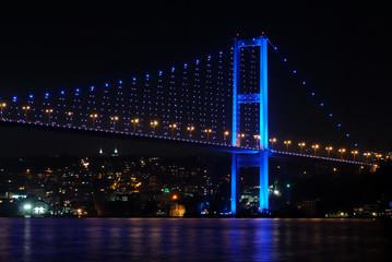 Bosphorus Bridge in evening with blue color lights