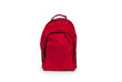 Red school backpack isolated on white