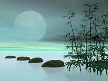 Étapes asiatiques vers la lune - Rendu 3D