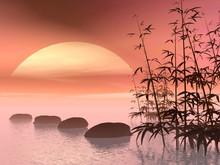 Étapes asiatiques au soleil - 3D