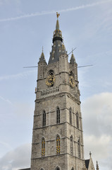 Bell tower of the belfry of Ghent Belgium