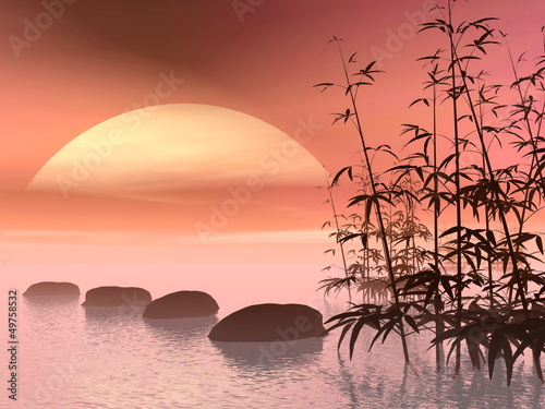 Asian steps to the sun - 3D render