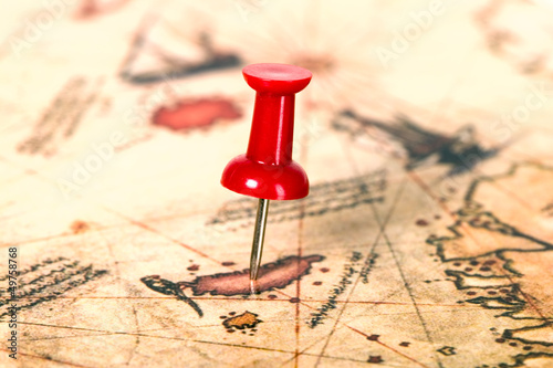 Thumbtack in the world map