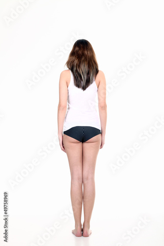 Junge schlanke Frau in Unterwäsche, Rückenansicht Po