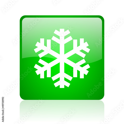 snowflake green square web icon on white background