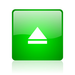 eject green square web icon on white background