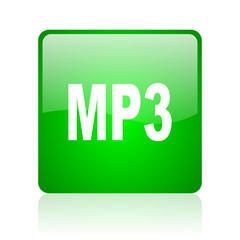 mp3 green square web icon on white background