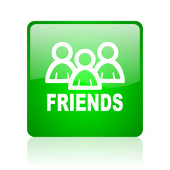 friends green square web icon on white background