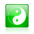 ying yang green square web icon on white background