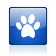 animal footprint blue square glossy web icon on white background