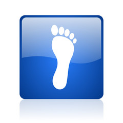 footprint blue square glossy web icon on white background