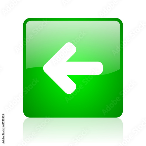 arrow left green square web icon on white background