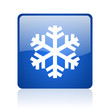 snowflake blue square glossy web icon on white background
