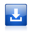 download blue square glossy web icon on white background