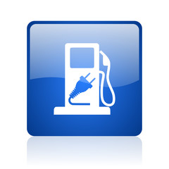 fuel blue square glossy web icon on white background