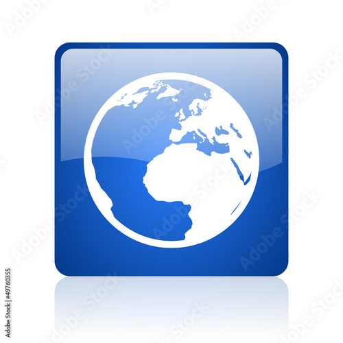 earth blue square glossy web icon on white background