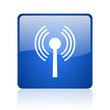 wifi blue square glossy web icon on white background
