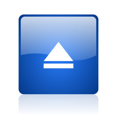 eject blue square glossy web icon on white background