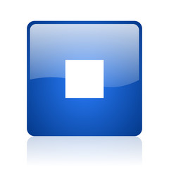 stop blue square glossy web icon on white background