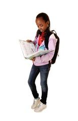 Schoolgirl reading.