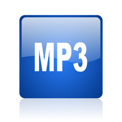 mp3 blue square glossy web icon on white background