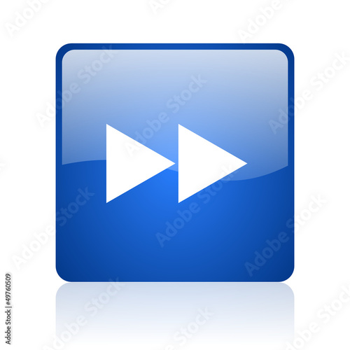 scroll blue square glossy web icon on white background