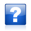 question mark blue square glossy web icon on white background