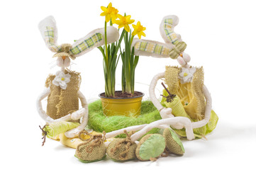 Easter bunnies with narcissus