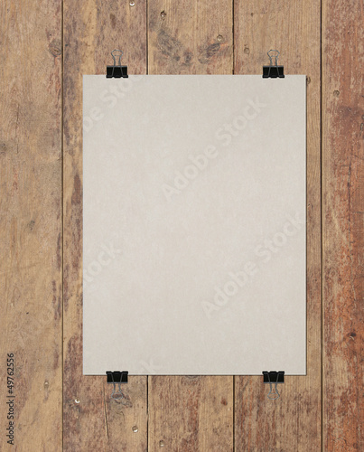 poster and wooden background