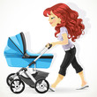 Cute mother with a blue pram on walk